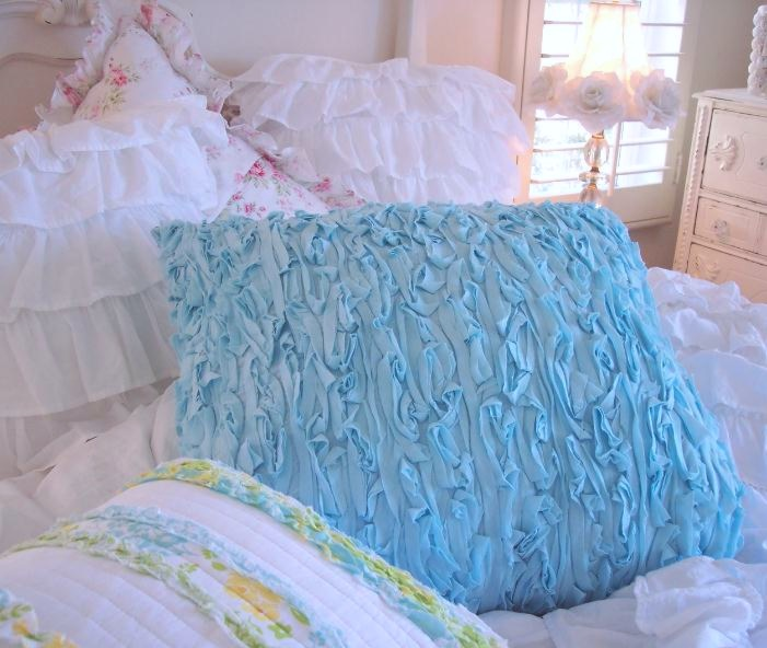 Bahama Blue Rag Ruffle Euro Pillow