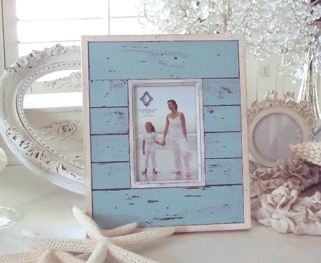 aqua blue beach wood shabby cottage chic picture photo frame