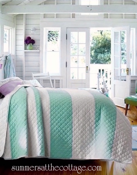 Coastal Living Aqua White Cabana Stripe King Quilt Set