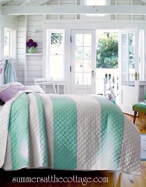 Aqua turquoise and white cabana striped quilt set