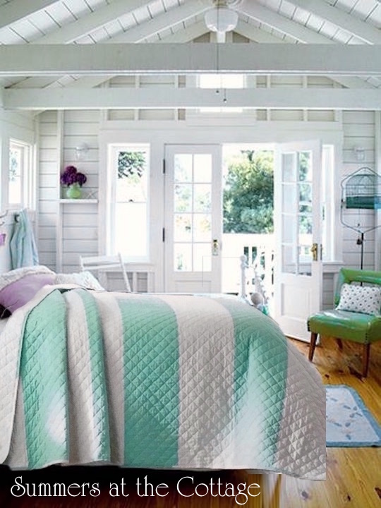 Beach House Aqua Stripes Bedding`