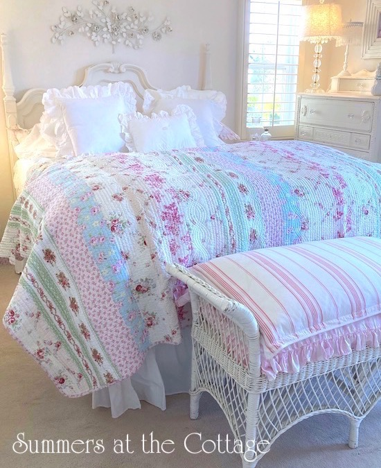 Shabby Bella Blue Pink Roses Quilt