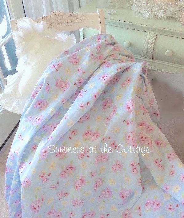 Bella Blue Pink Roses Fabric
