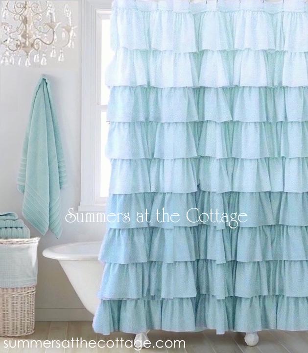 Bella Blue Ruffles Shower Curtain