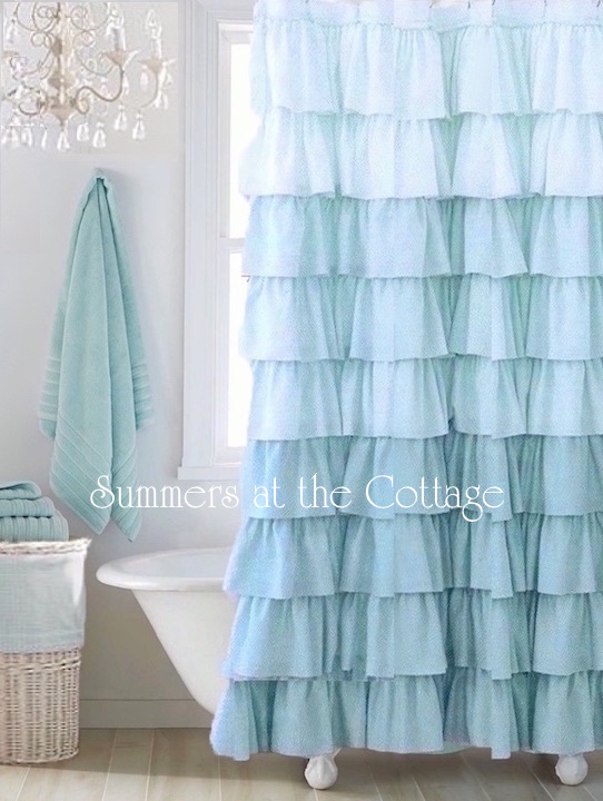 Shades of Blue Ruffled Bath Shower Curtain