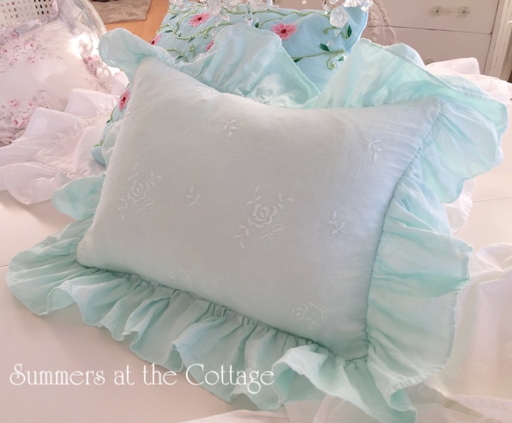 Bella Notte Aqua Linen Pillow