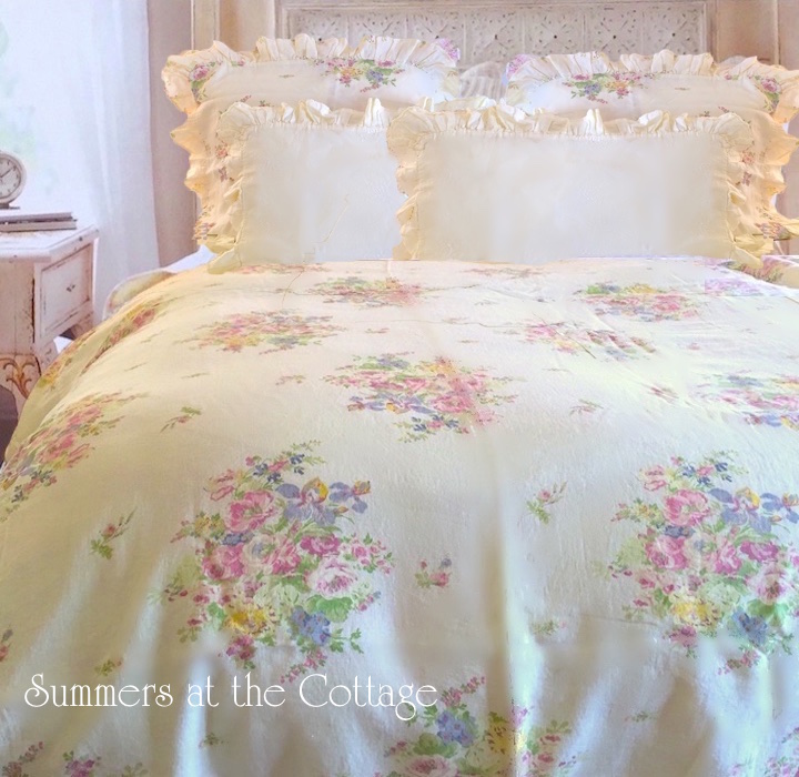 Bella Notte Melissa Yellow Pink Roses Bedding