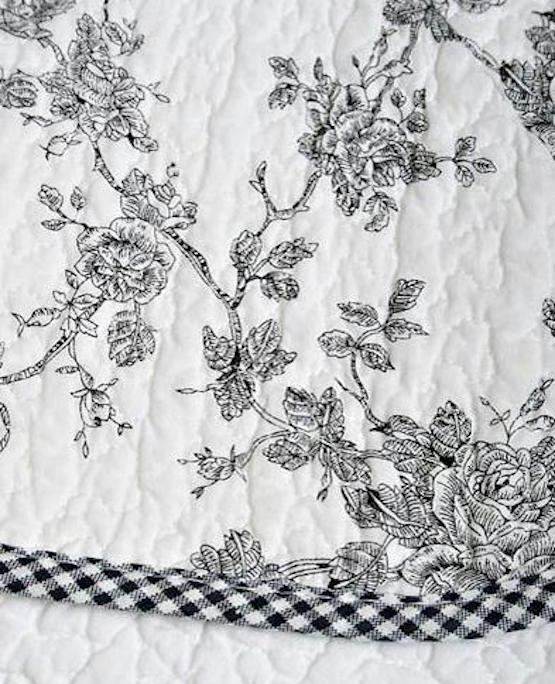 French Country Cottage Black Toile Roses Scallop Edge