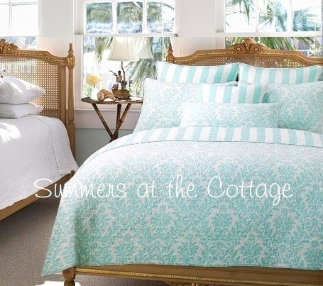 Beach House Blue Awning Stripe Bedding