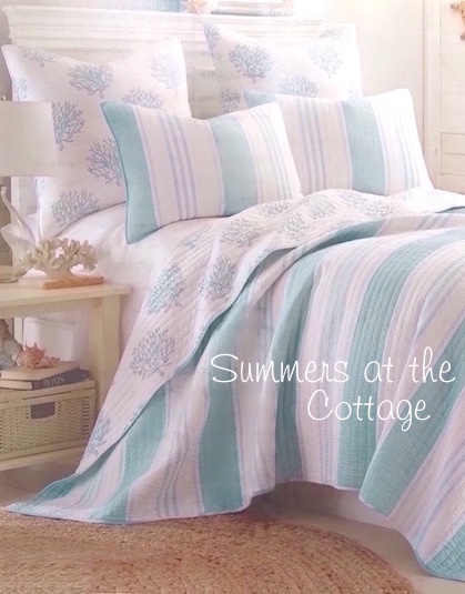 Endless Summers Blue Sea Glass Coral Reef Bedding