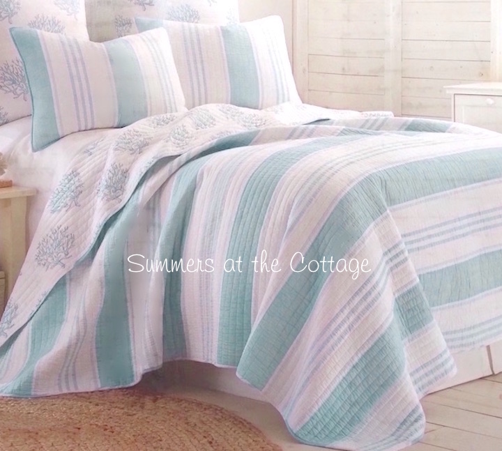 Beach House Bahama Blue Cabana Stripe Bedding