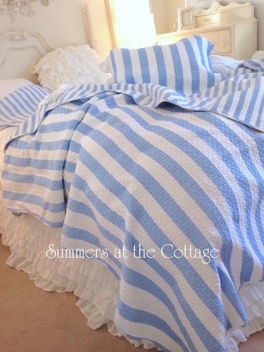 Coastal Beach House Blue Cabana Stripe Bedding