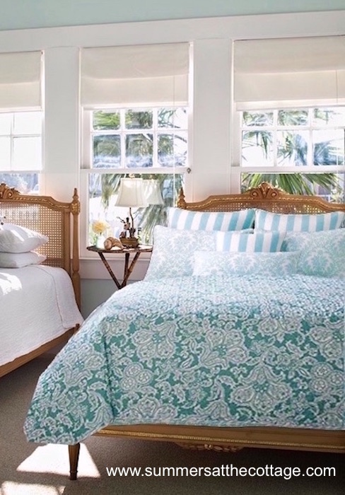 Summers Beach House Bahama Aqua Teal Sea Blue Cabana