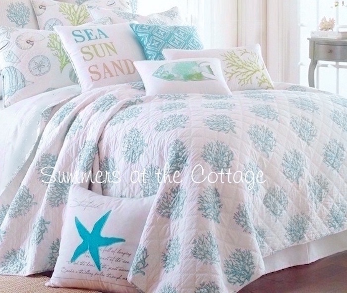Coastal Blue Coral Reef Cabana Stripe Bedding