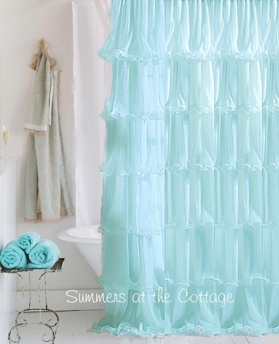 Blue Elegant Ruffles Shower Curtain