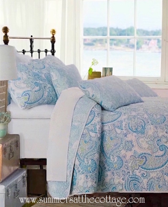 Waves of Sea Glass Colors Paisley Quilt Set