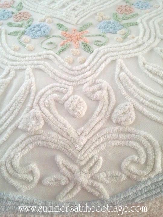 Vintage Chenille Bedspread Blue Roses Peach Flowers