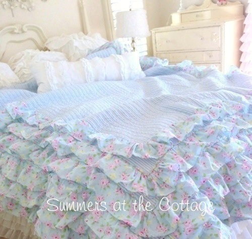 Beach Cottage Blue Pink Roses Ruffles Quilt