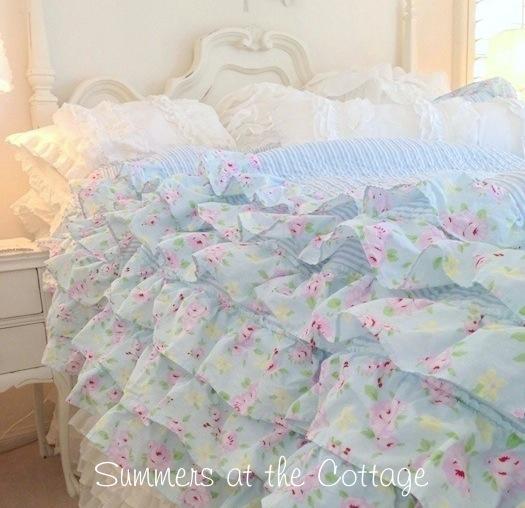 Petticoat Ruffles Bella Blue Pink Roses Quilt