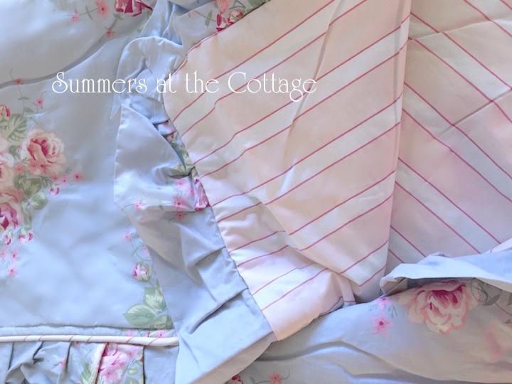 Pink Roses Cabana Stripes