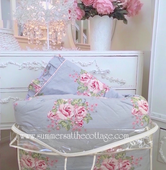 Shabby Chic Blue Pink Roses