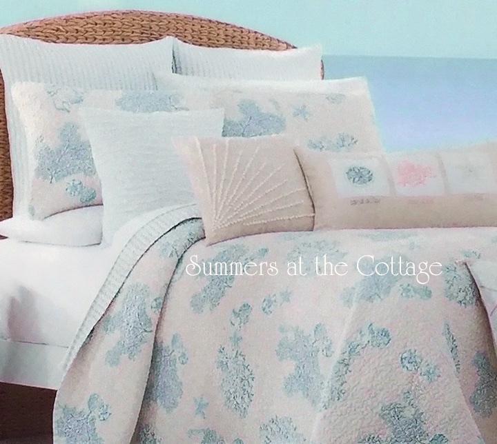 White Linen Beach House Blue