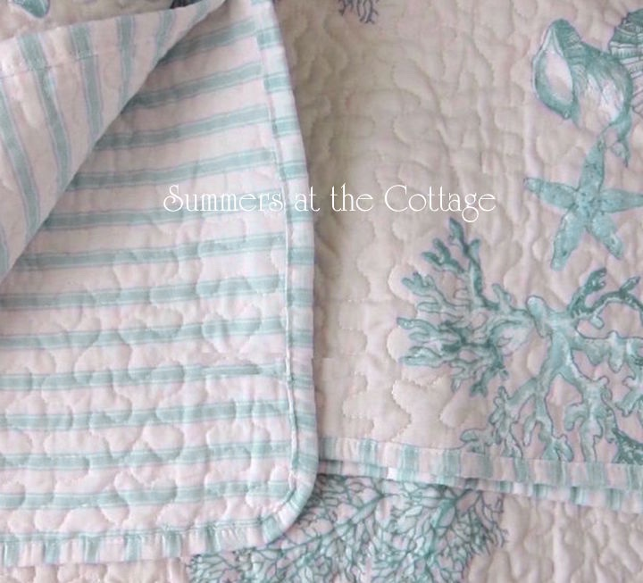 Aqua Blue Coastal Cabana Stripe Bedding
