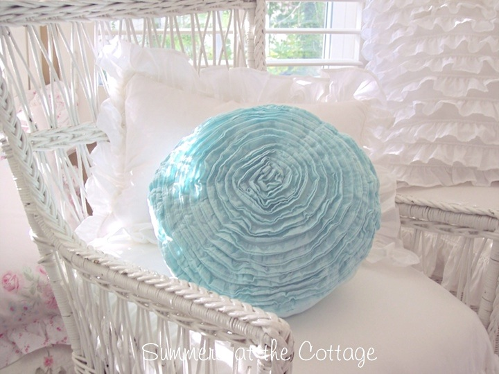Round Beach Blue Ruffled Pillow