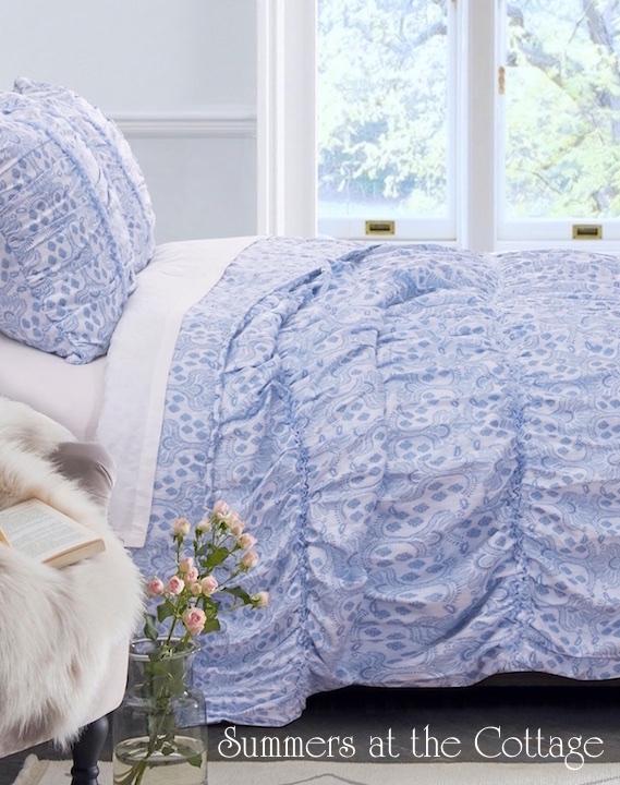 Carolina Blue Vintage Cottage Paisley Ruched Comforter