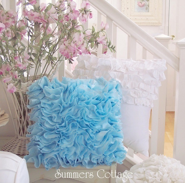 Bahama Blue Ruffled Pillow