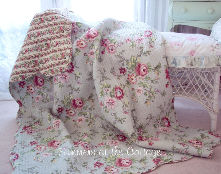 Tuscan Sky Blue Wine Roses Quilt
