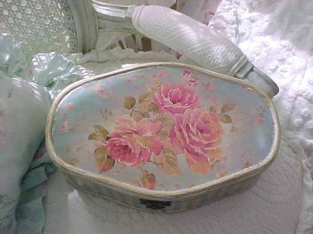 Blue Vanity Box with Pink Roses