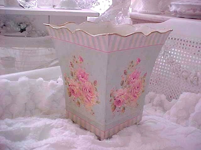Vintage Roses Aqua Blue Tin Can