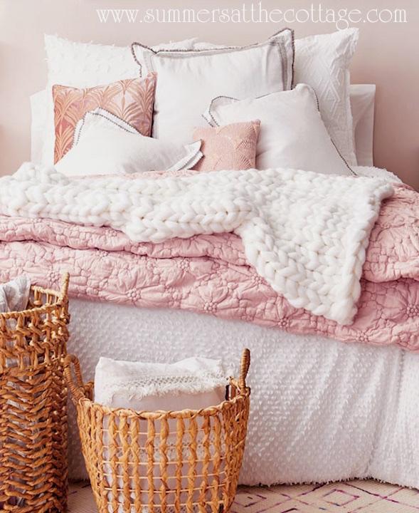 French Knot Rosette Blush Comforter White Pops Duvet