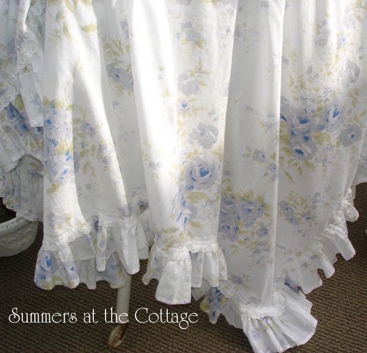 Blue Roses Ruffle Tablecloth