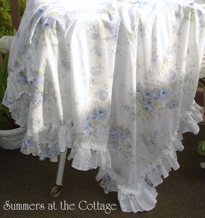 Shabby Chic Blue Roses Tablecloth