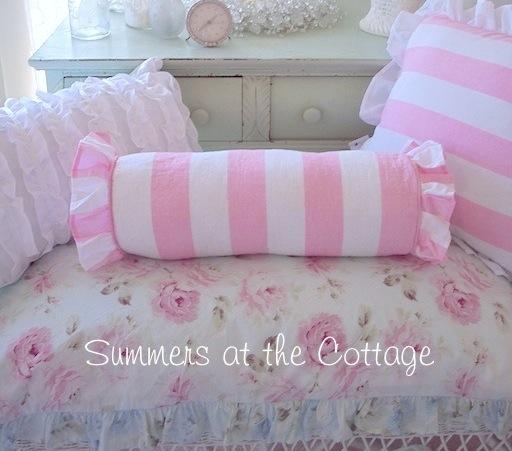 Pink White Awning Stripe Bolster Pillow