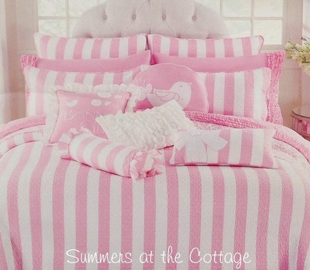 Pink White Cabana Quilt Set