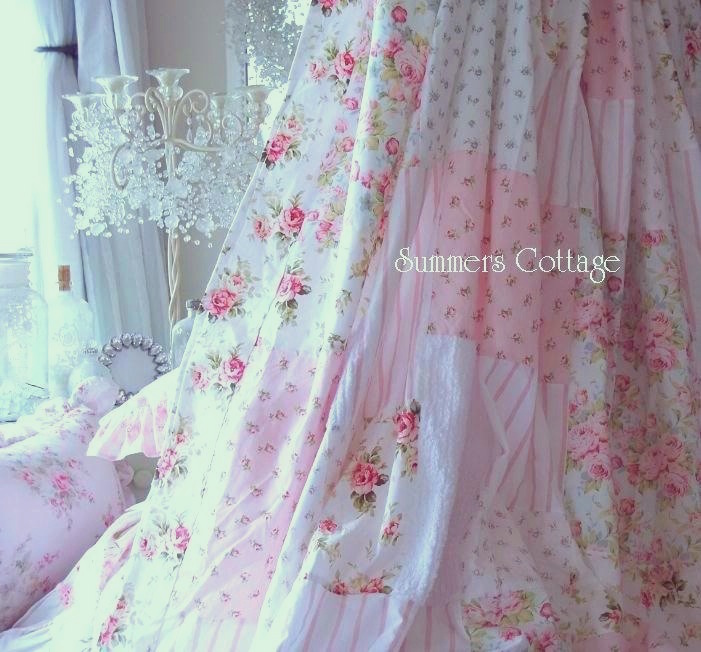 Pink Roses Chenille Shower Curtain
