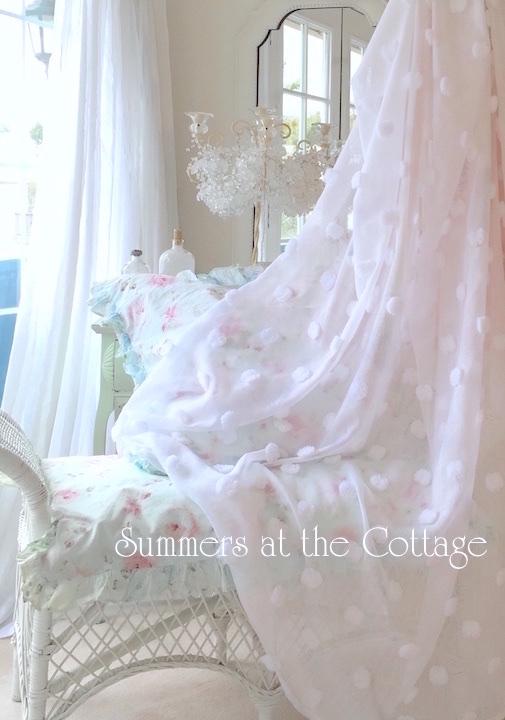 Sheer White Chenille Drapes