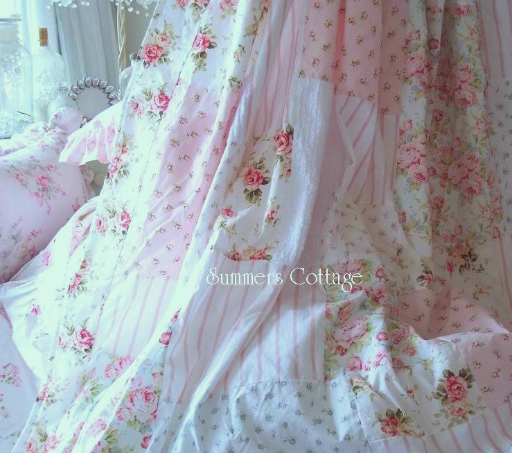 Chenille Shower Curtain Shabby White Chenille Blue Beach Cottage Chic Pink Roses