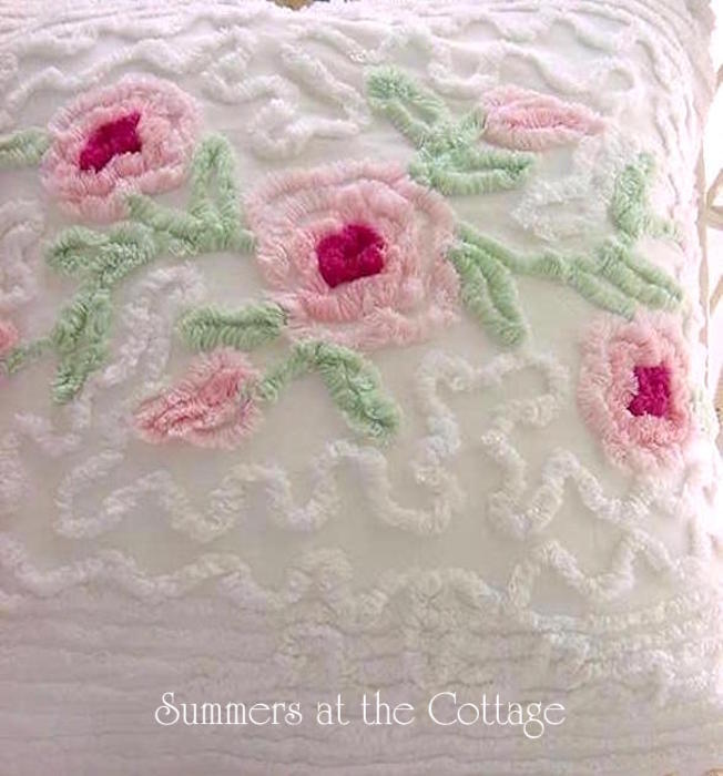 Vintage Chenille Bedspread Pillow