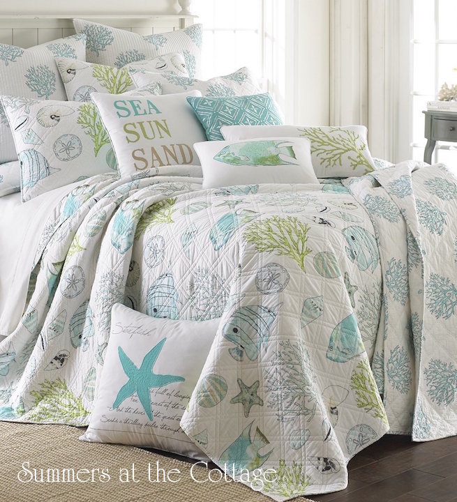 Coastal Cottage Seashell Aqua Reef Bedding