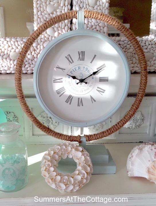 Coastal Beach Blue Table Clock