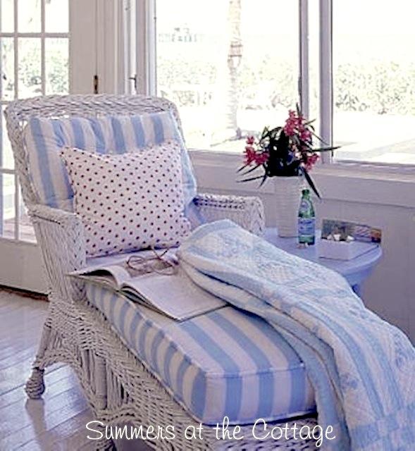Coastal Living Blue White Striped Throw Quilt