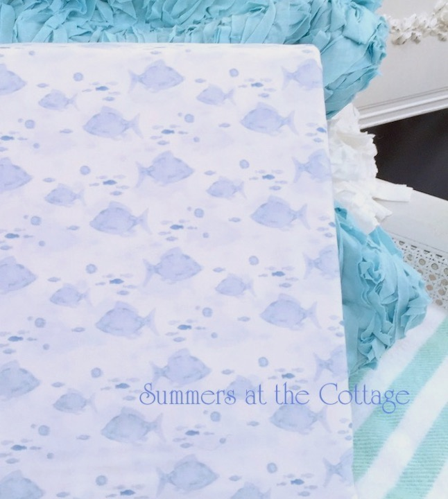 Coastal Beach House Blue Queen Sheet Set