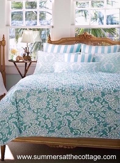 Coastal Teal Sea Blue Green Cabana Stripe Bedding