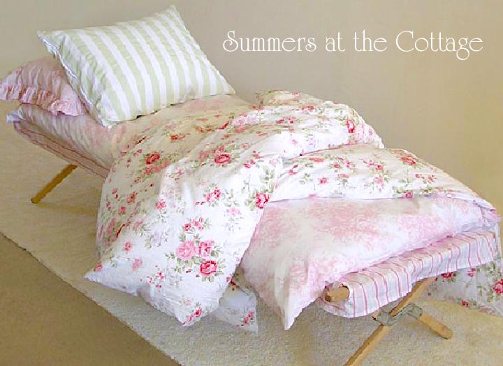Authentic Shabby Chic Cot Cover Duvet