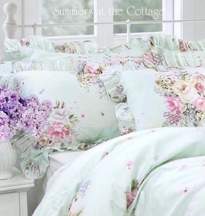 Aqua Mint Pink Roses Cottage Treasures Duvet