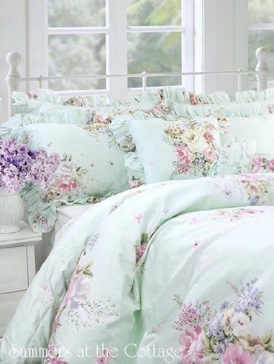 Cottage Treasures Aqua Mint Pink Roses Shabby Chic Duvet